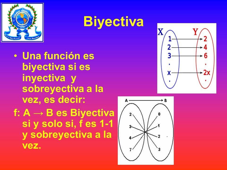 Biyectiva Una función es biyectiva si es inyectiva y sobreyectiva a la vez, es decir: