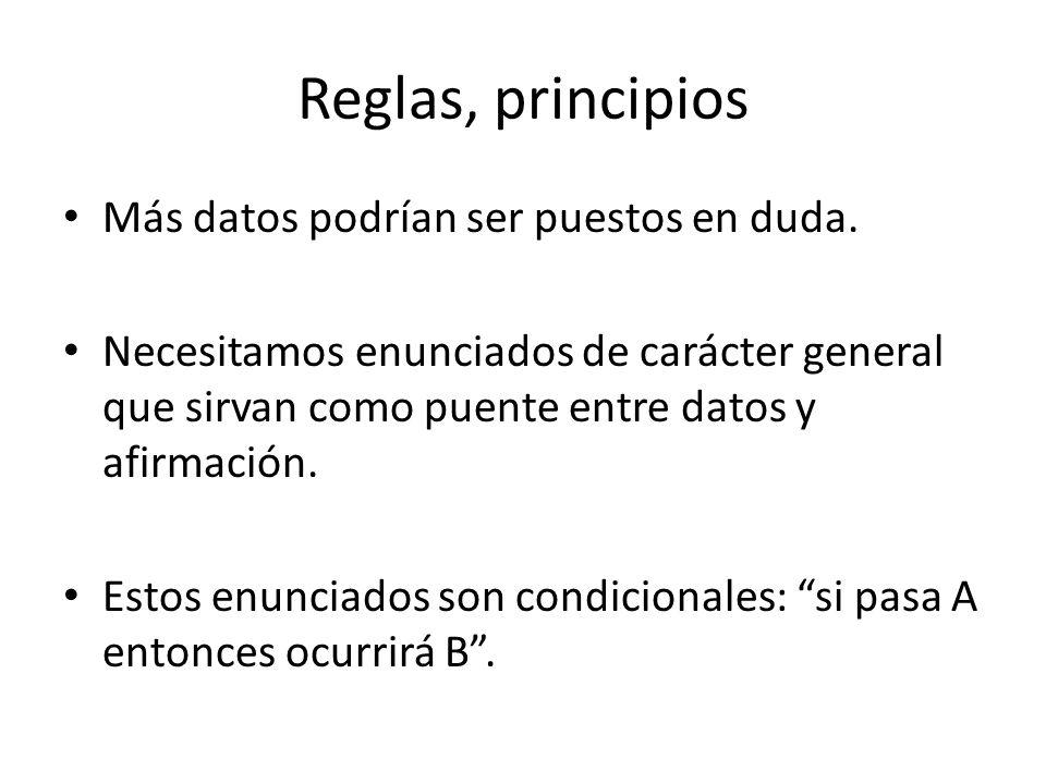 Reglas, principios Más datos podrían ser puestos en duda.
