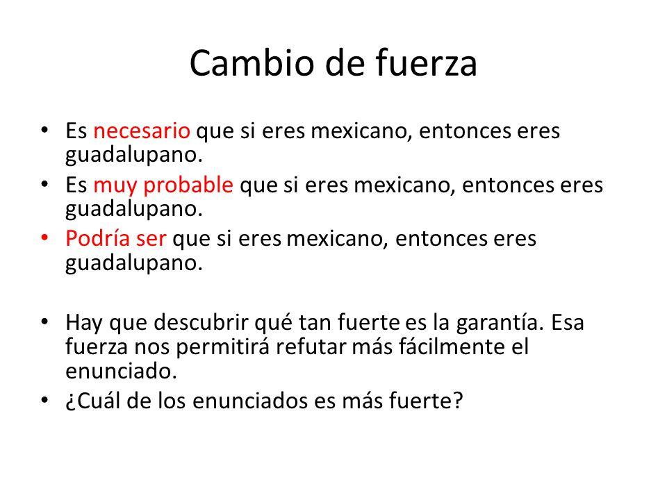 Cambio de fuerza Es necesario que si eres mexicano, entonces eres guadalupano. Es muy probable que si eres mexicano, entonces eres guadalupano.