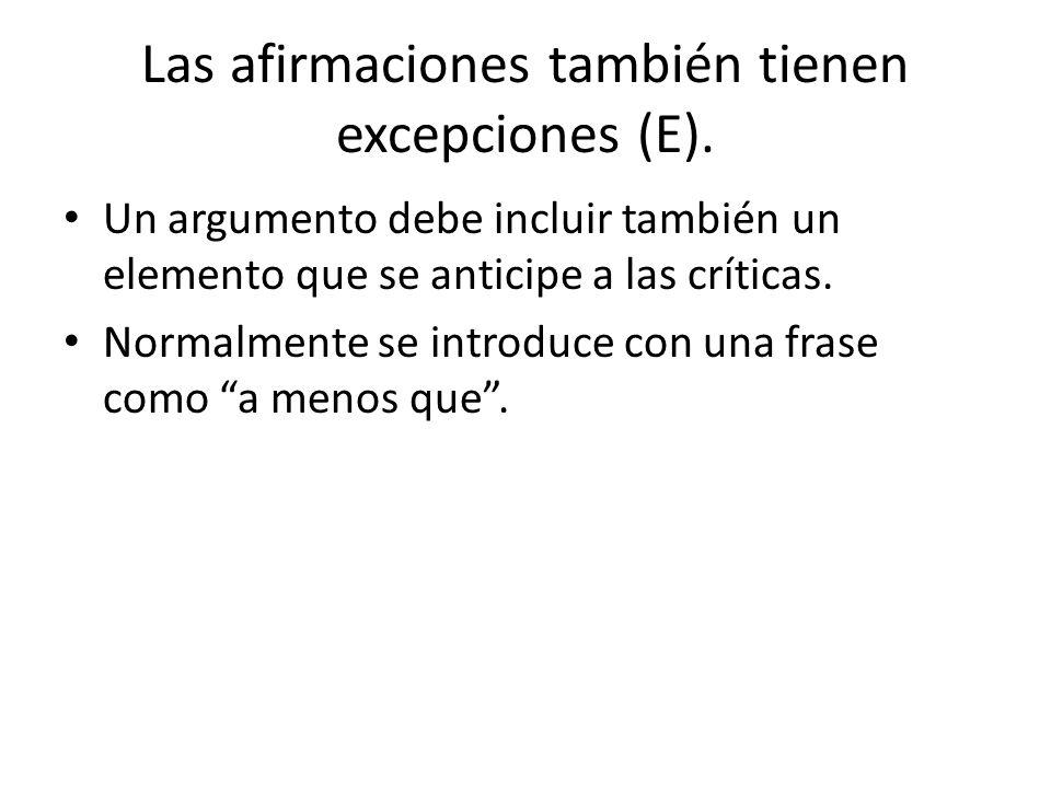 Las afirmaciones también tienen excepciones (E).