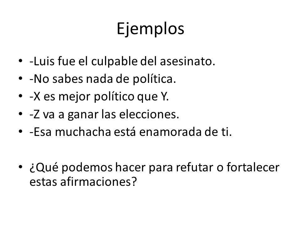 Ejemplos -Luis fue el culpable del asesinato.