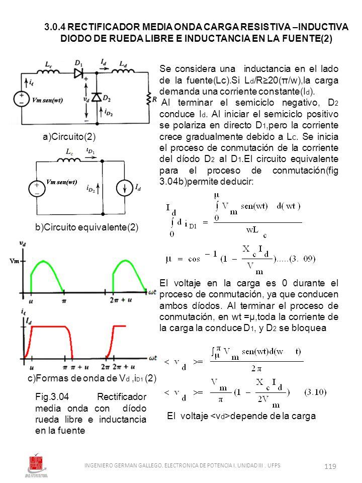 INGENIERO GERMAN GALLEGO. ELECTRONICA DE POTENCIA I. UNIDAD III . UFPS