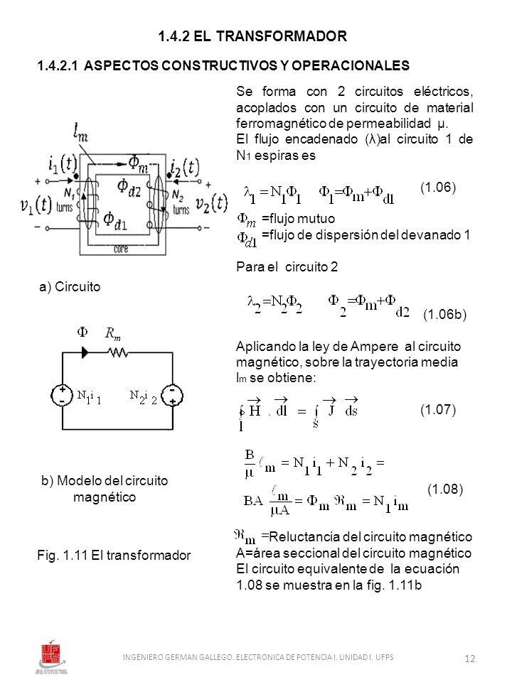 1.4.2 EL TRANSFORMADOR 1.4.2.1 ASPECTOS CONSTRUCTIVOS Y OPERACIONALES