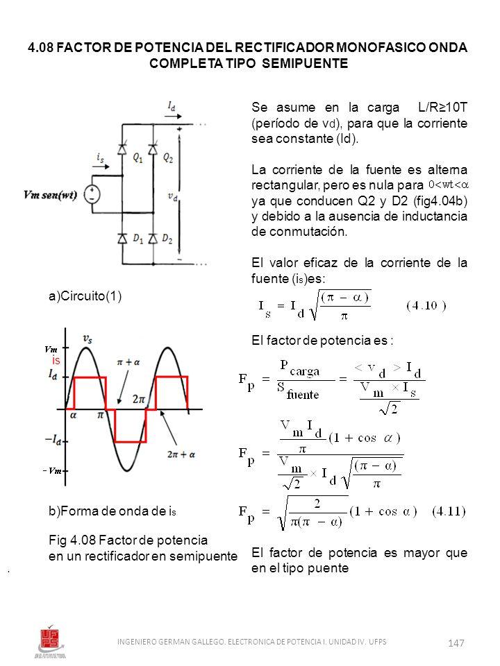 4.08 FACTOR DE POTENCIA DEL RECTIFICADOR MONOFASICO ONDA
