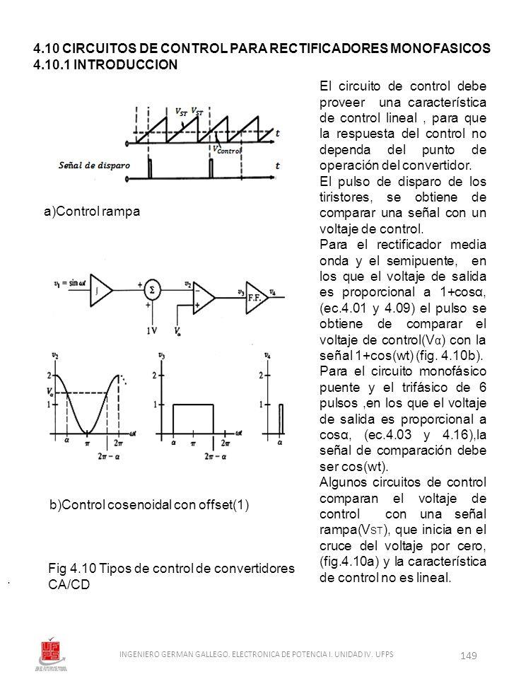 4.10 CIRCUITOS DE CONTROL PARA RECTIFICADORES MONOFASICOS