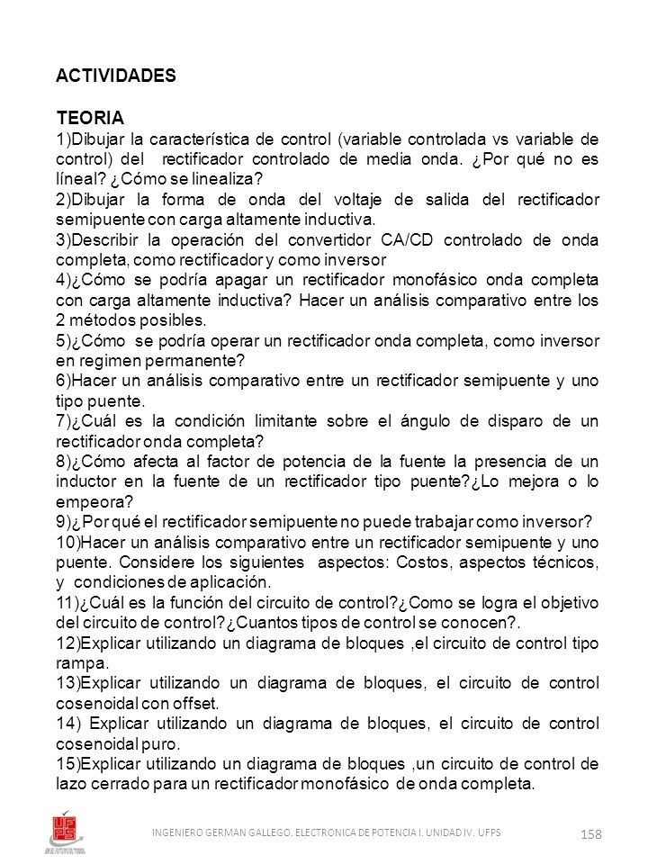 INGENIERO GERMAN GALLEGO. ELECTRONICA DE POTENCIA I. UNIDAD IV. UFPS