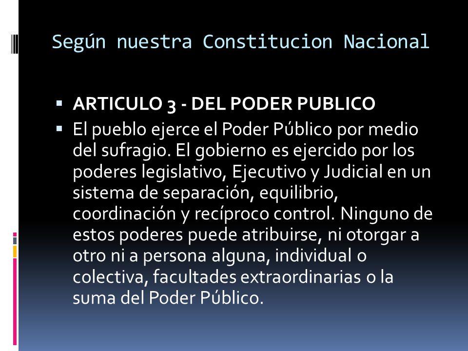 Según nuestra Constitucion Nacional