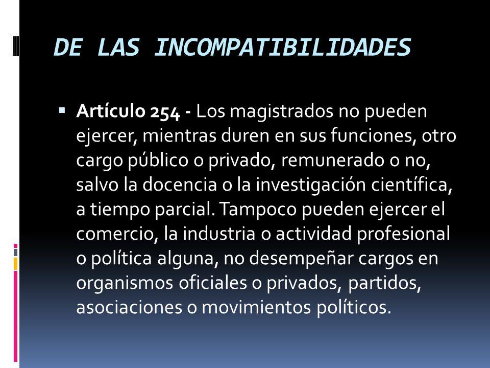 DE LAS INCOMPATIBILIDADES