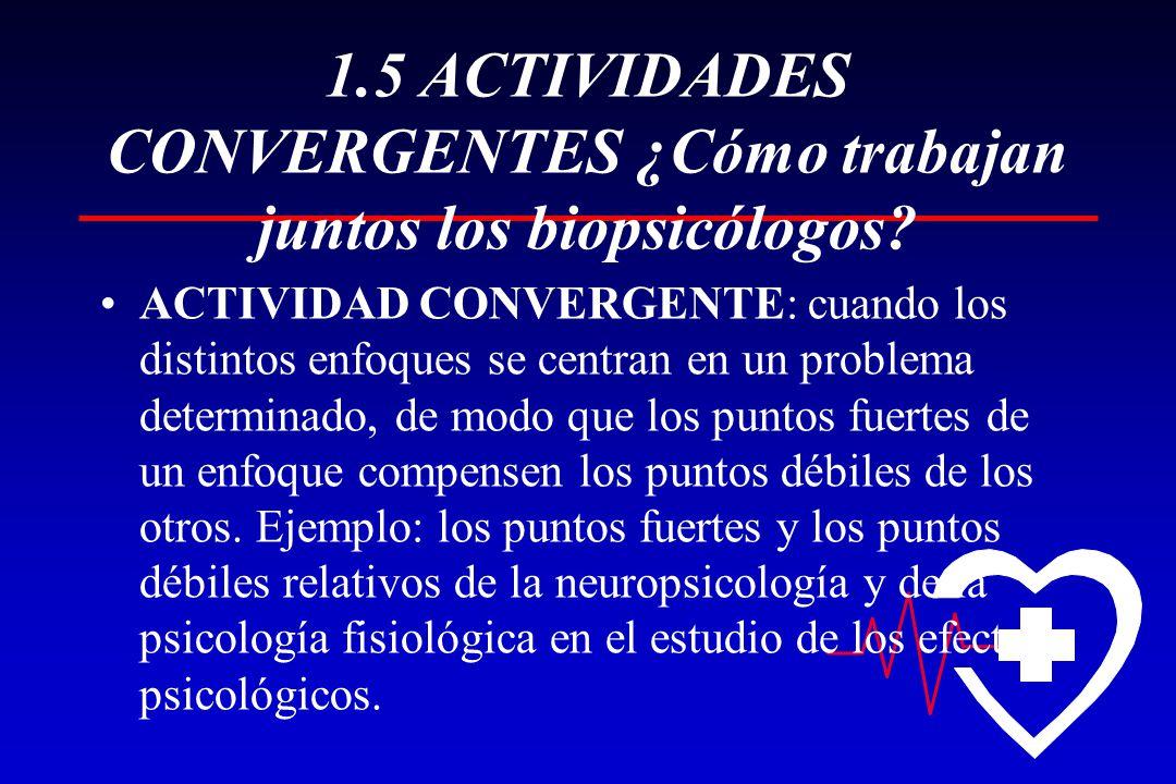 1.5 ACTIVIDADES CONVERGENTES ¿Cómo trabajan juntos los biopsicólogos