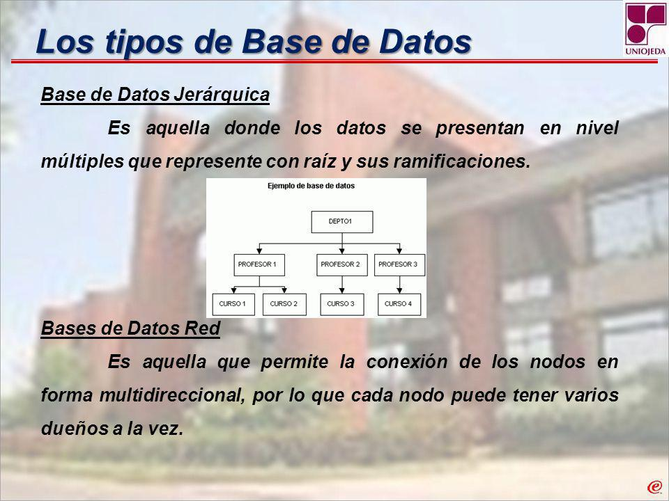 Los tipos de Base de Datos