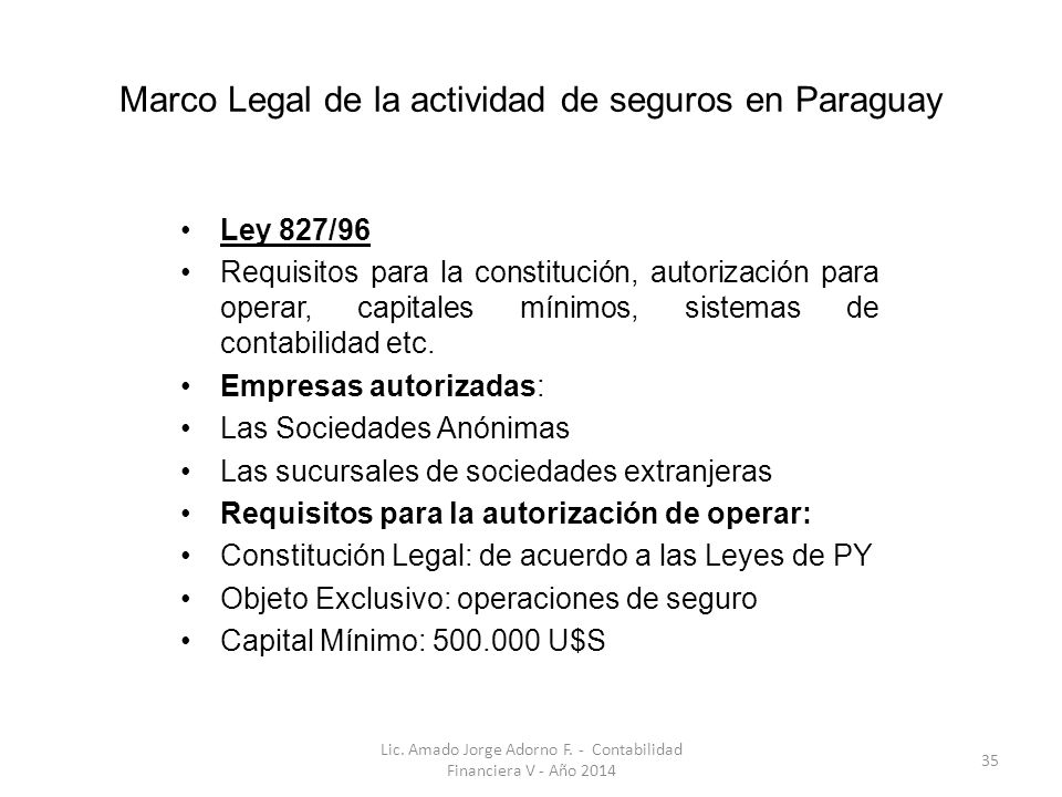 Marco Legal de la actividad de seguros en Paraguay