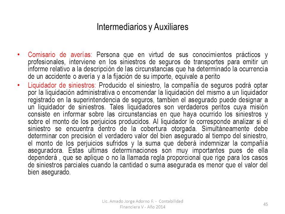 Intermediarios y Auxiliares