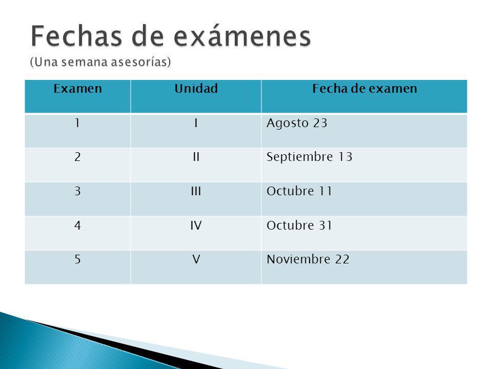 Fechas de exámenes (Una semana asesorías)