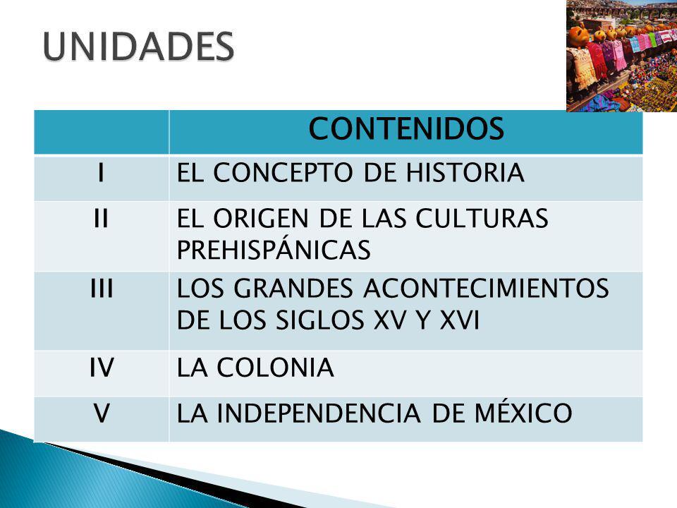 UNIDADES CONTENIDOS I EL CONCEPTO DE HISTORIA II