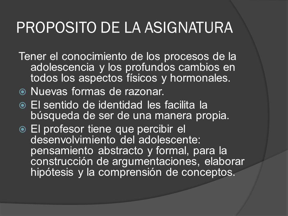 PROPOSITO DE LA ASIGNATURA