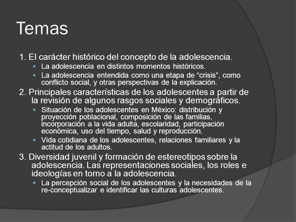 Temas 1. El carácter histórico del concepto de la adolescencia.