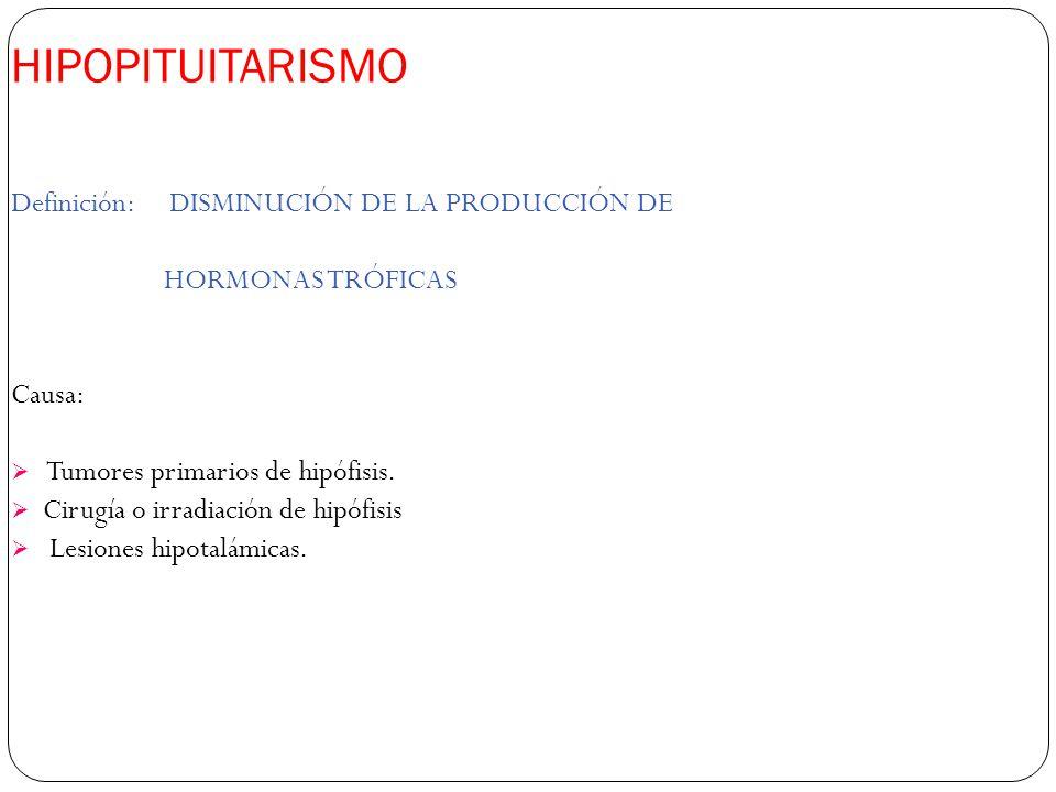 HIPOPITUITARISMO Definición: DISMINUCIÓN DE LA PRODUCCIÓN DE