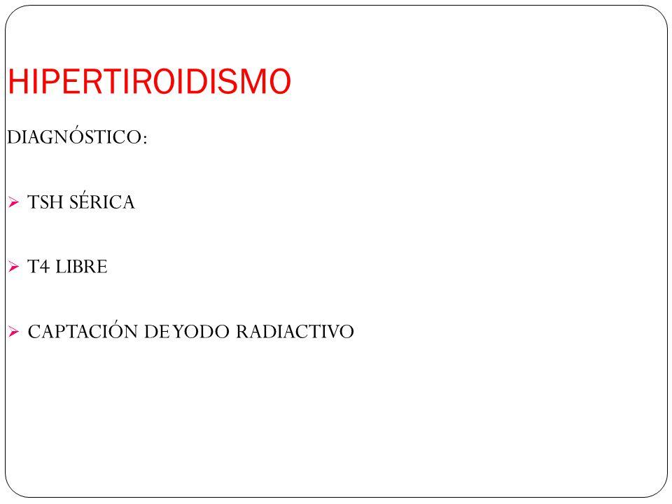 HIPERTIROIDISMO DIAGNÓSTICO: TSH SÉRICA T4 LIBRE