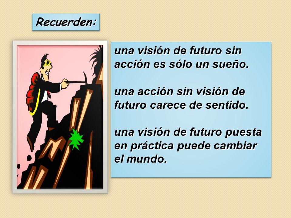 Recuerden: una visión de futuro sin acción es sólo un sueño. una acción sin visión de futuro carece de sentido.