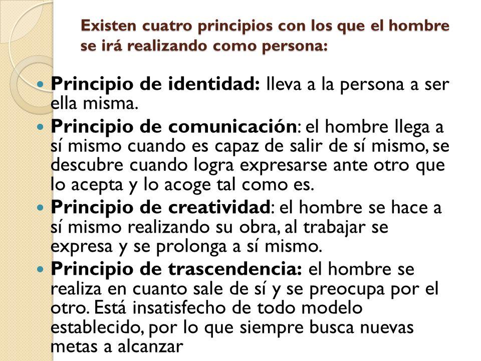 Principio de identidad: lleva a la persona a ser ella misma.