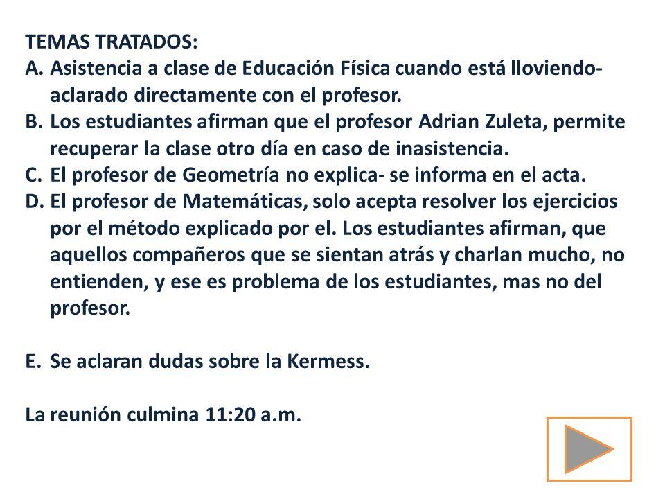TEMAS TRATADOS: Asistencia a clase de Educación Física cuando está lloviendo- aclarado directamente con el profesor.