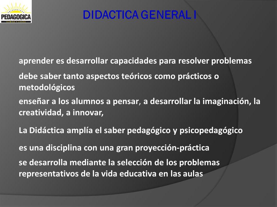 Didactica General I DIDACTICA GENERAL I. aprender es desarrollar capacidades para resolver problemas.