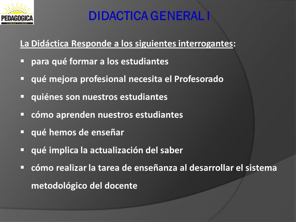 Didactica General I DIDACTICA GENERAL I. La Didáctica Responde a los siguientes interrogantes: para qué formar a los estudiantes.