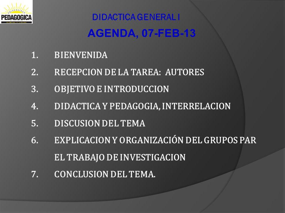 Didactica General I AGENDA, 07-FEB-13