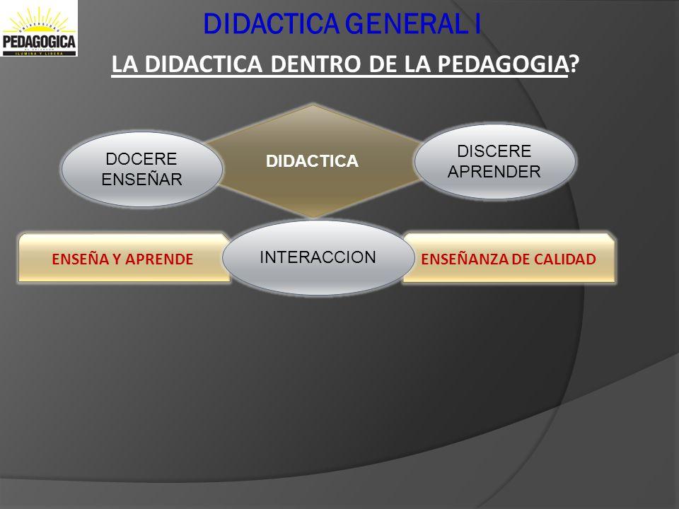 DIDACTICA GENERAL I LA DIDACTICA DENTRO DE LA PEDAGOGIA DIDACTICA