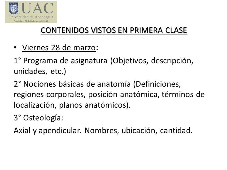 CONTENIDOS VISTOS EN PRIMERA CLASE
