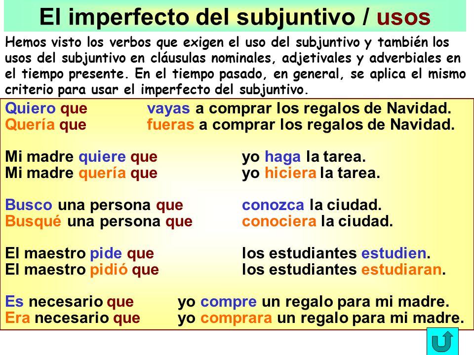 El imperfecto del subjuntivo / usos