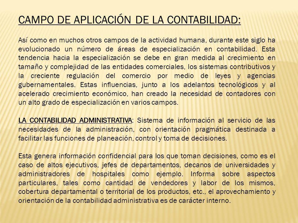 CAMPO DE APLICACIÓN DE LA CONTABILIDAD: