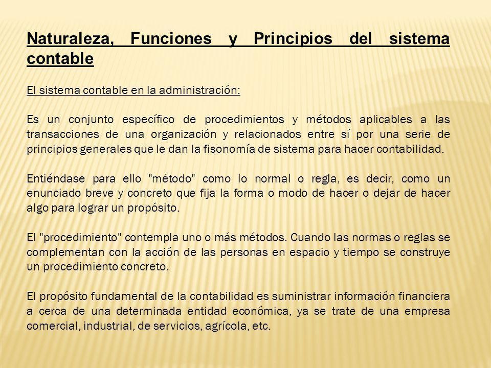 Naturaleza, Funciones y Principios del sistema contable