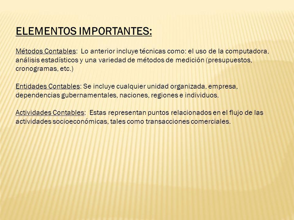 ELEMENTOS IMPORTANTES: