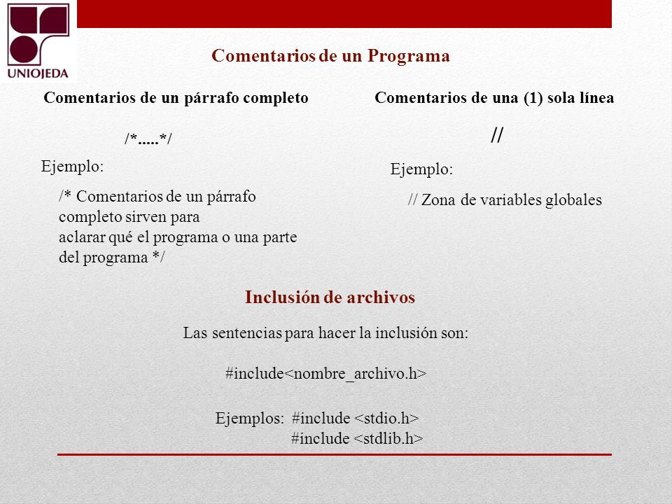 Comentarios de un Programa