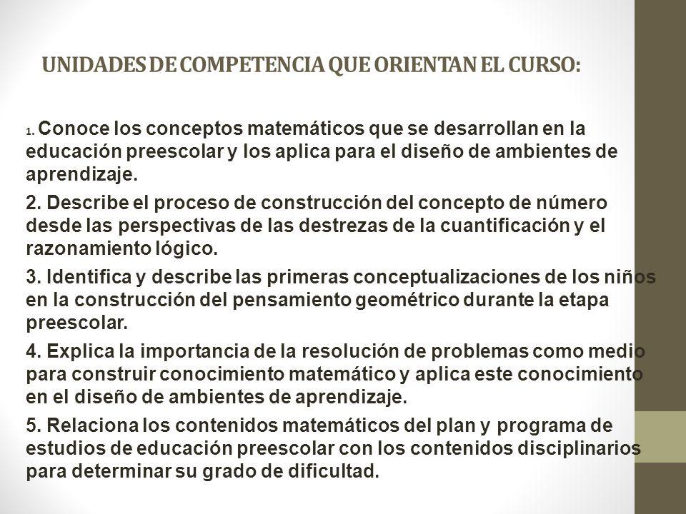 UNIDADES DE COMPETENCIA QUE ORIENTAN EL CURSO:
