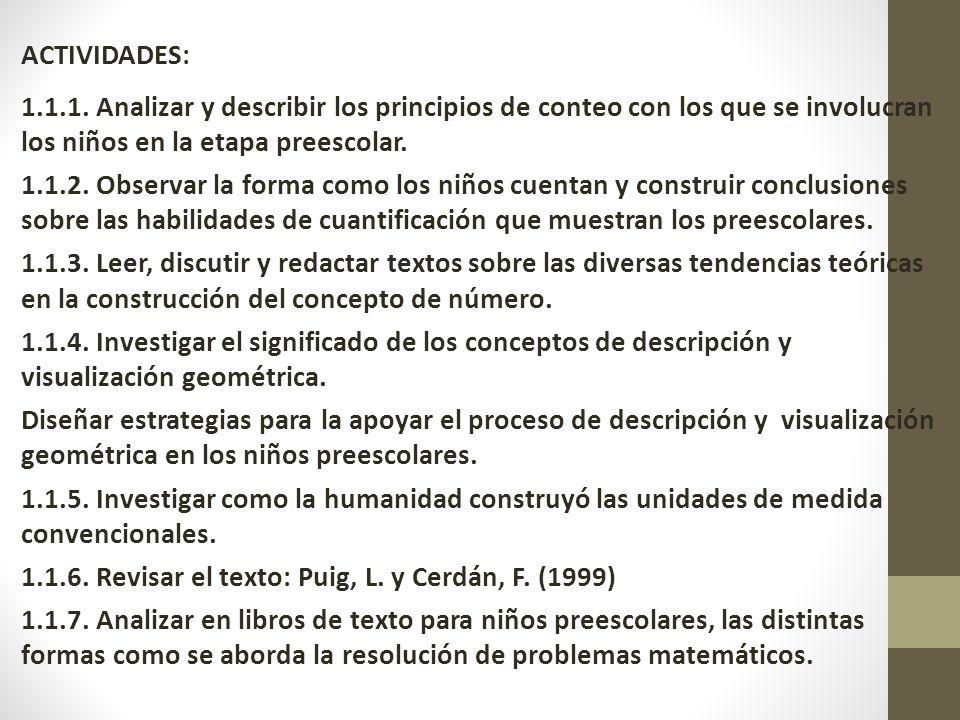 ACTIVIDADES: 1.1.1. Analizar y describir los principios de conteo con los que se involucran los niños en la etapa preescolar.