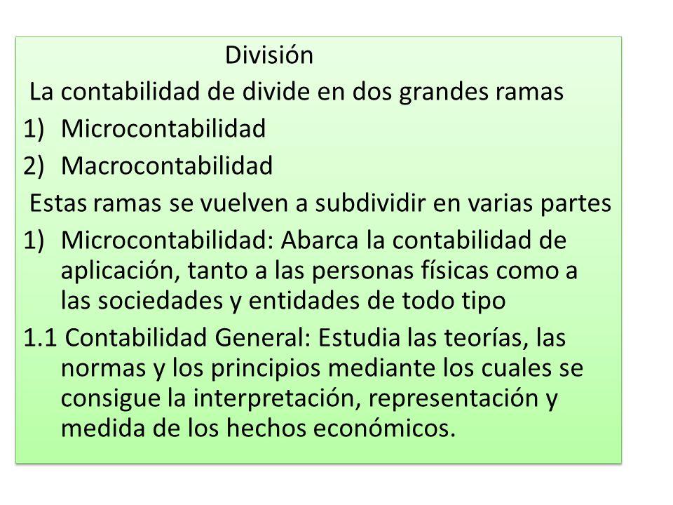 División La contabilidad de divide en dos grandes ramas. Microcontabilidad. Macrocontabilidad.