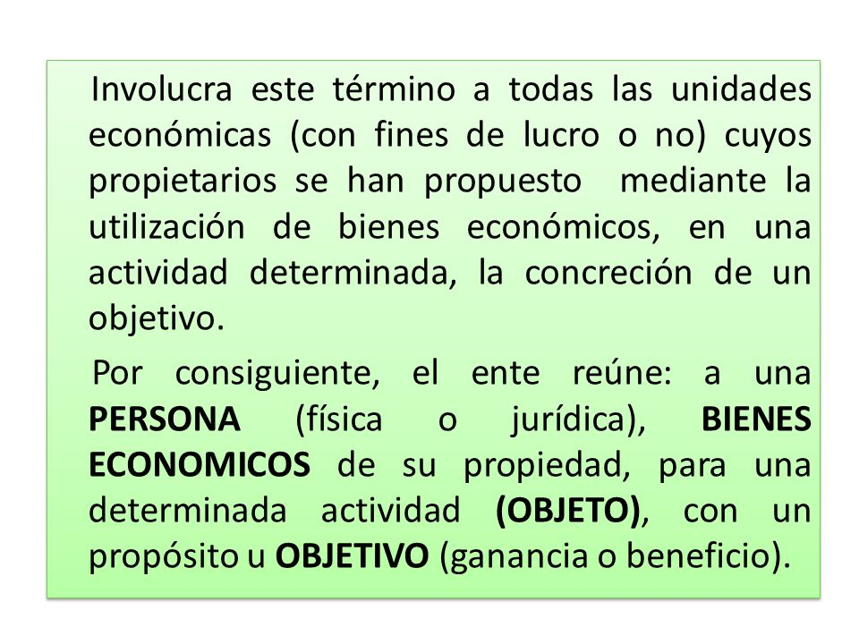 Involucra este término a todas las unidades económicas (con fines de lucro o no) cuyos propietarios se han propuesto mediante la utilización de bienes económicos, en una actividad determinada, la concreción de un objetivo.