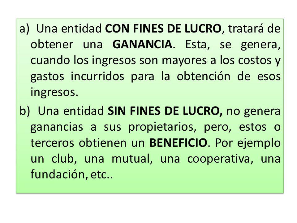 a) Una entidad CON FINES DE LUCRO, tratará de obtener una GANANCIA