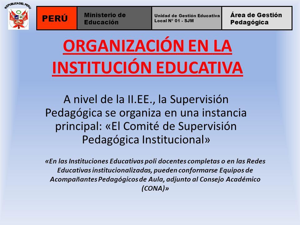 ORGANIZACIÓN EN LA INSTITUCIÓN EDUCATIVA