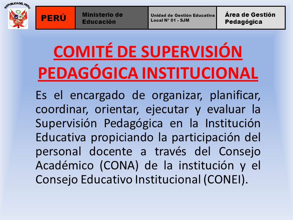 COMITÉ DE SUPERVISIÓN PEDAGÓGICA INSTITUCIONAL