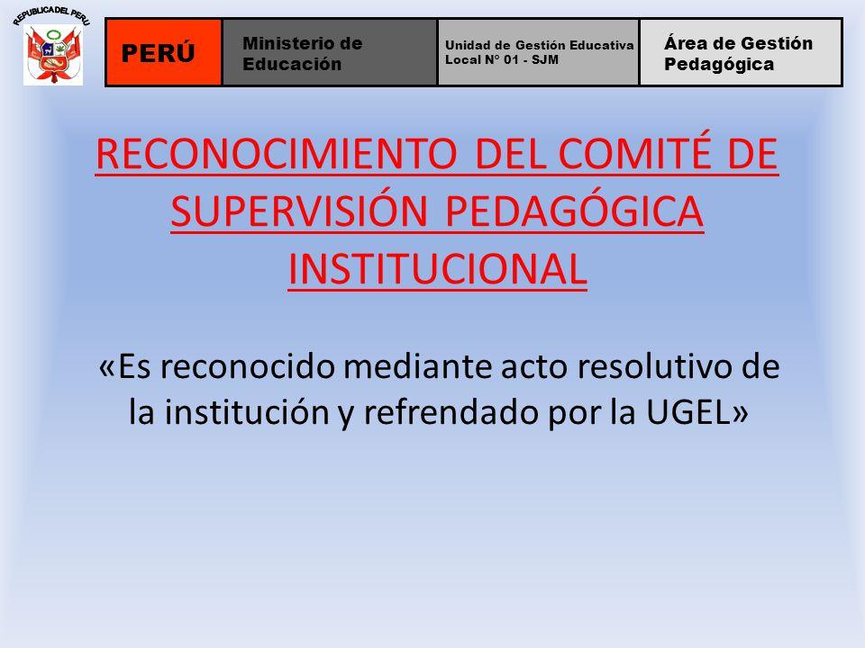 RECONOCIMIENTO DEL COMITÉ DE SUPERVISIÓN PEDAGÓGICA INSTITUCIONAL