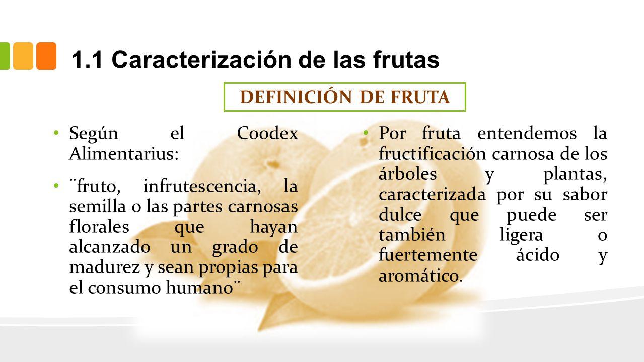 1.1 Caracterización de las frutas