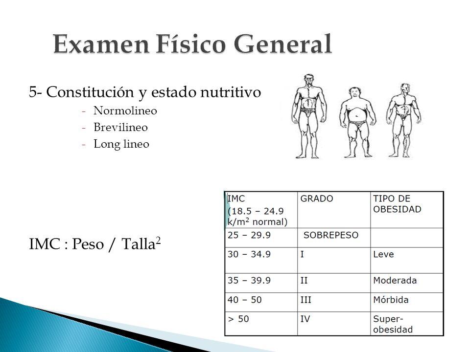 Examen Físico General 5- Constitución y estado nutritivo