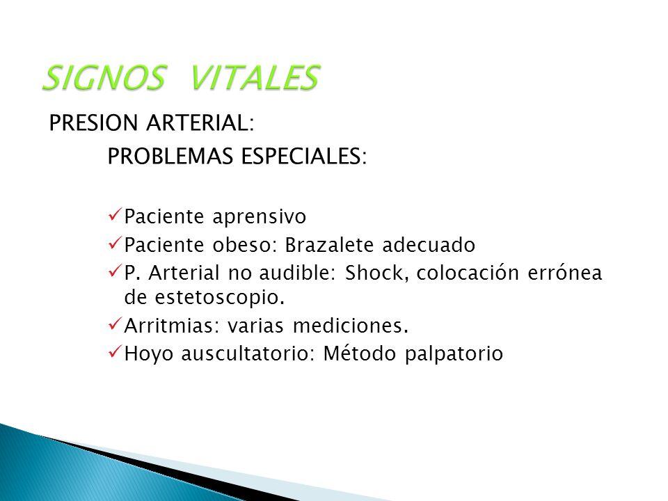 SIGNOS VITALES PROBLEMAS ESPECIALES: PRESION ARTERIAL: