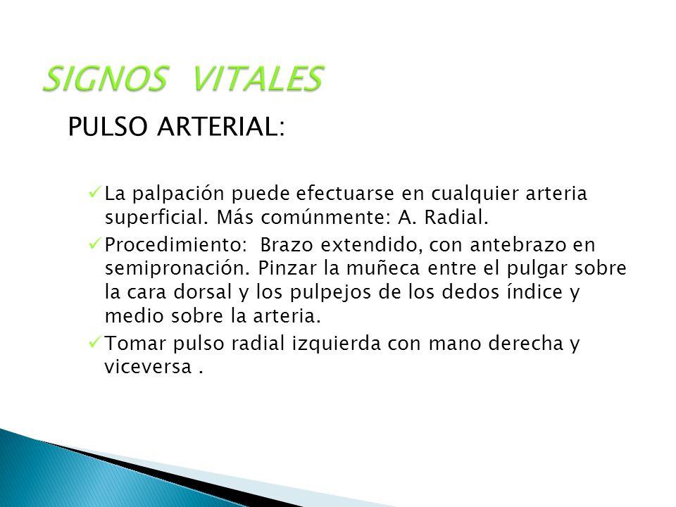 SIGNOS VITALES PULSO ARTERIAL: