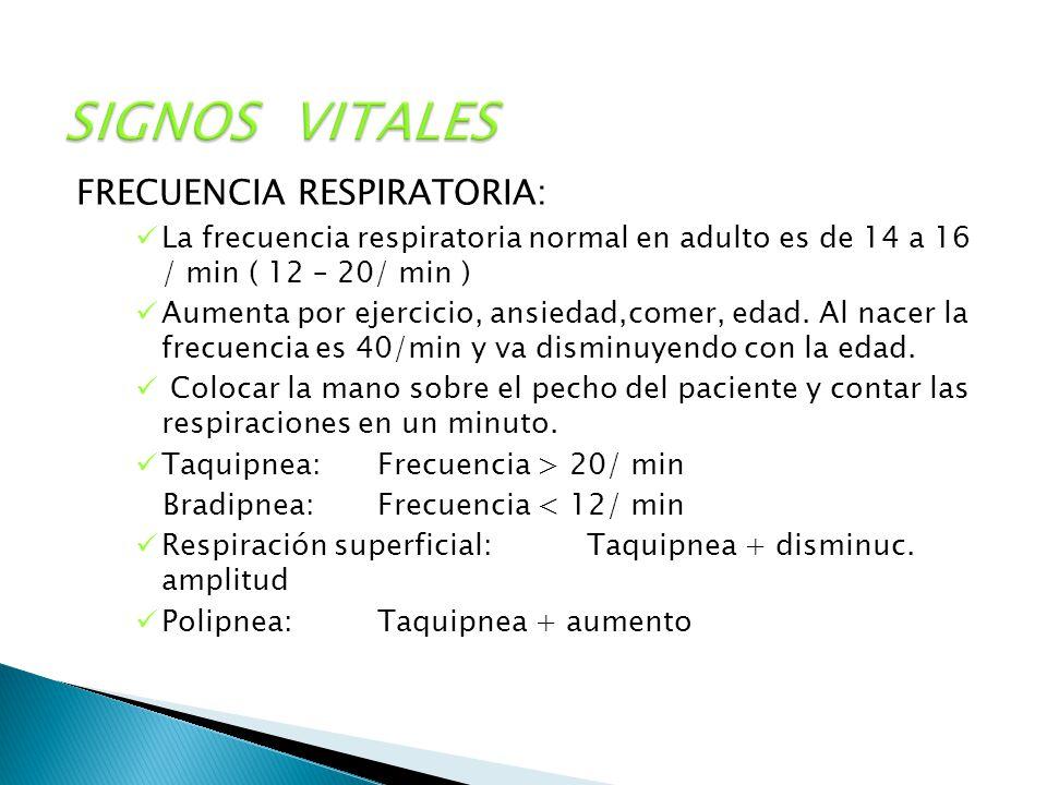 SIGNOS VITALES FRECUENCIA RESPIRATORIA: