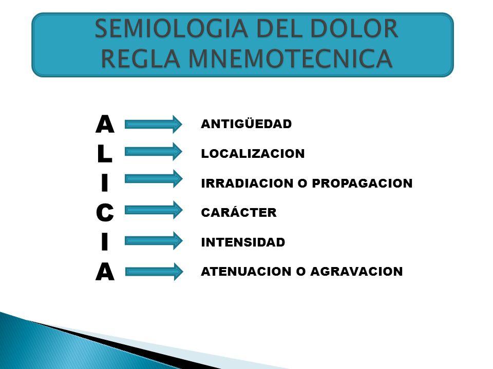 SEMIOLOGIA DEL DOLOR REGLA MNEMOTECNICA