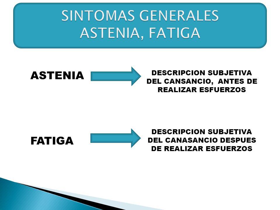 SINTOMAS GENERALES ASTENIA, FATIGA